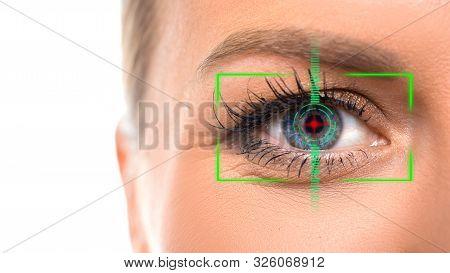 Close-up Photo Of Female Eye With The Virtual Hologram On Her Eyes. Iris Identification And Eyesight