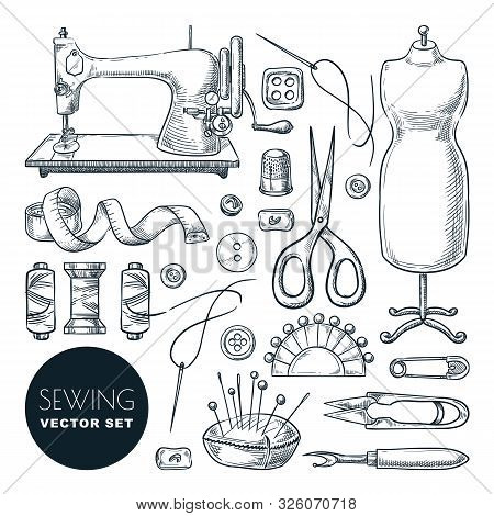 Sewing Tools And Tailor Equipment Set, Isolated On White Background. Vector Hand Drawn Sketch Illust