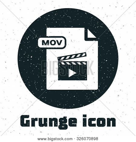 Grunge Mov File Document. Download Mov Button Icon Isolated On White Background. Mov File Symbol. Au