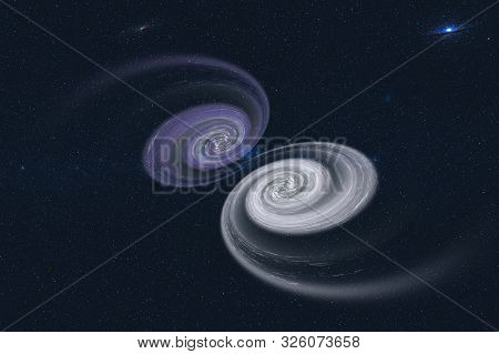 Merging Giant Black Holes Nebulas. Purple And White. Elements Of This Image Were Furnished By Nasa