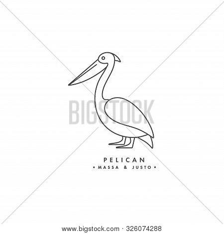 Vector Linear Logo Design Pelican Bird On White Background. Pelican Emblems Or Badges.