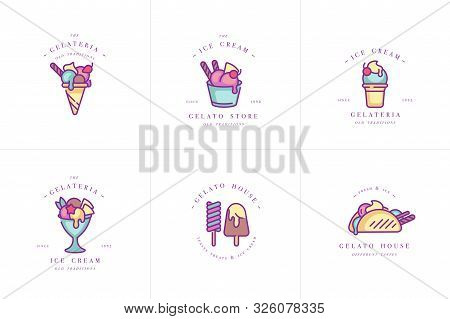 Vector Set Design Colorful Templates Logo And Emblems - Ice Cream And Gelato. Difference Ice Cream I
