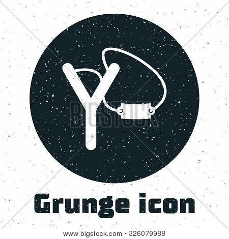 Grunge Slingshot Icon Isolated On White Background. Vector Illustration