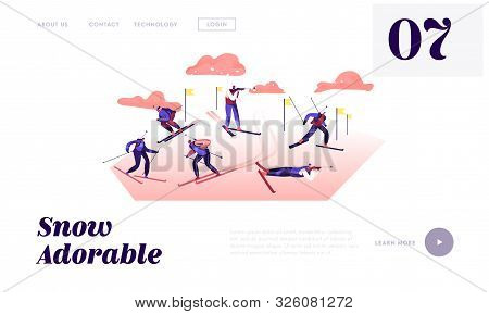 Biathlon Competition Website Landing Page. Competitors Standing On Shooting Range Aiming To Target,