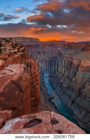 Colorado River Runs Through The Depth Of Grand Canyon