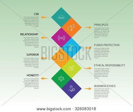Business Ethics Infographics Vector Design. Timeline Concept Include Csr, Behavior, Principles Icons