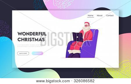 Merry Xmas Website Landing Page. Smiling Santa Claus In Red Costume Sitting In Armchair With Laptop
