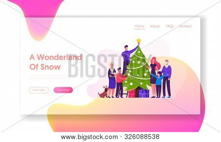 Winter Holidays Celebration Website Landing Page. Big Happy Family Decorate Christmas Tree Together