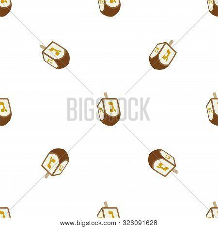 Illustration On Theme Big Colored Pattern Hanukkah, Seamless Set Dreidel. Seamless Pattern Consistin