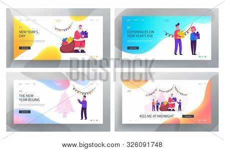 Generous Santa Claus Bringing Gifts To Children Website Landing Page Set. Happy Kids Celebrate Chris