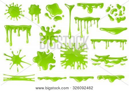 Green Cartoon Slime. Goo Blob Splashes, Sticky Dripping Mucus. Slimy Drops, Messy Borders For Hallow