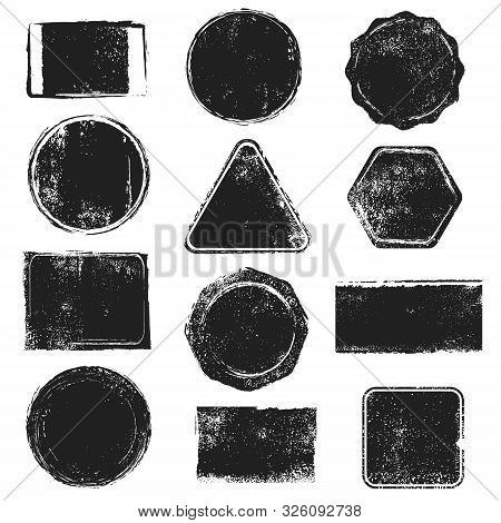 Grunge Stamps. Distressed Post Stamp Texture. Round, Rectangular, Triangular And Hexagonal Scratched