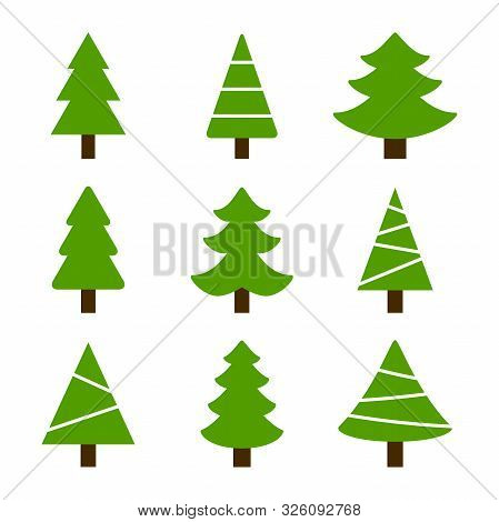 Vector Collection Fir Icon On White Background.