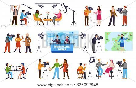 Journalists. Newscaster And Journalist Profession, Media Record. Television Industry. Press Intervie