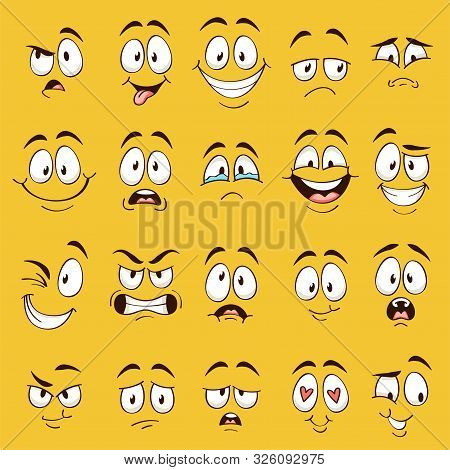 Cartoon Faces. Funny Face Expressions, Caricature Emotions. Cute Character With Different Expressive