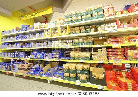 Rome Italy - June 15, 2019: Italian Pasta Display At Todis Supermarket Rome Italy