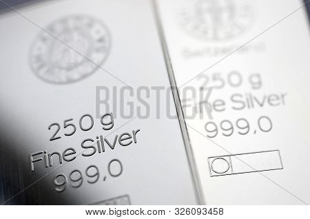 Two Silver Bars Weighing 250 Grams Each. Selective Focus.