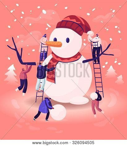 Tiny Male And Female Characters Playing On Winter Day Making Funny Snowman Standing On Ladders At St