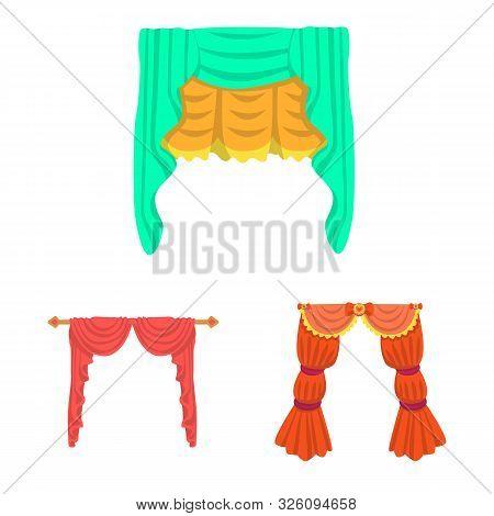 Vector Illustration Of Lambrequin And Drapery Sign. Set Of Lambrequin And Decoration Stock Vector Il