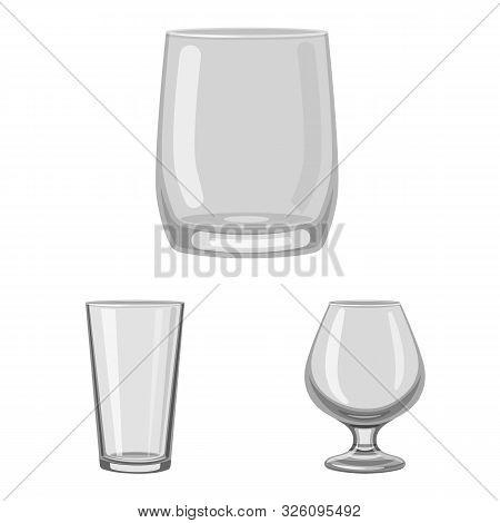Vector Illustration Of Capacity And Glassware Sign. Set Of Capacity And Restaurant Stock Vector Illu