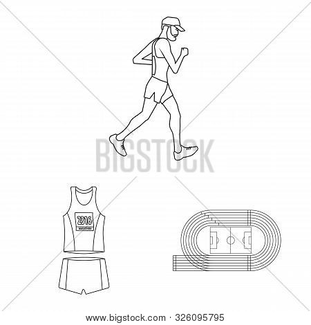 Isolated Object Of Exercise And Sprinter Icon. Collection Of Exercise And Marathon Stock Vector Illu
