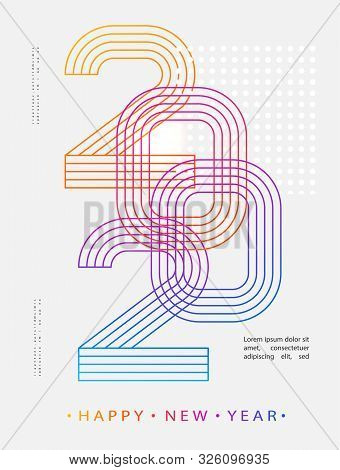 2020 Modern Design. 2020 Happy New Year. Numbers Minimalist Style. Vector Linear Numbers. Design Of