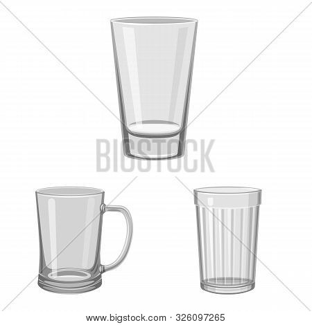 Vector Design Of Capacity And Glassware Symbol. Collection Of Capacity And Restaurant Vector Icon Fo