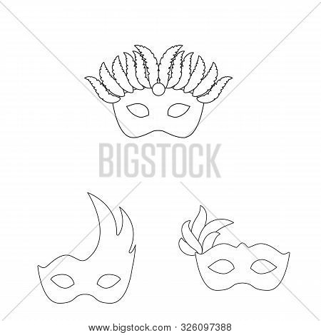 Vector Design Of Masquerade And Mystery Sign. Set Of Masquerade And Festival Vector Icon For Stock.