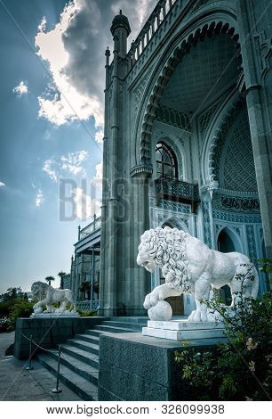 Alupka, Crimea - May 20, 2016: Vorontsov Palace With Lion Statues In Crimea, Russia. Vorontsov Palac