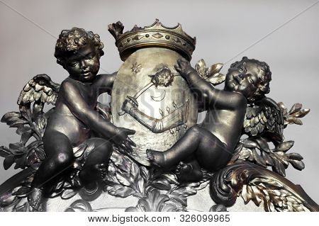 Casta, Slovakia - August 31, 2019: Medieval Antique Decoration Of Furniture In The Form Of Angels, S