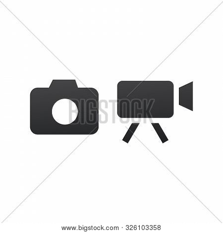 Photo And Video Camera Icon. Camcorder Vector Icon. Stock Vector Illustration Isolated On White Back