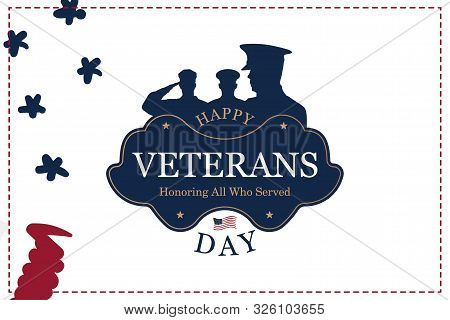 Veterans Day. Greeting Card With Usa Flag On Background. National American Holiday Event. Flat Vecto