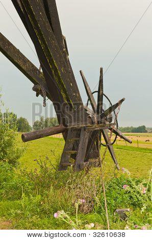 Closeup Of A Part Of A Dutch Windmill