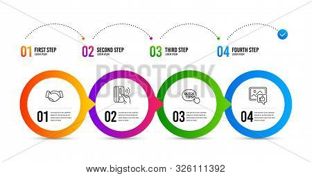 Quick Tips, Contactless Payment And Handshake Line Icons Set. Timeline Infographic. Like Photo Sign.