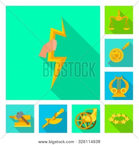 Isolated Object Of Deity And Antique Icon. Collection Of Deity And Myths Vector Icon For Stock.