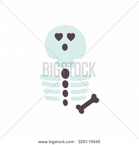 Cute Halloween Skeleton Flat Icon Isolated On White Background. Cartoon Character For Holidays Desig
