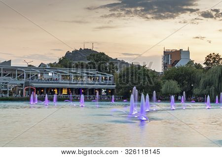 Plovdiv, Bulgaria - August 25, 2019: Night Photo Of Singing Fountains At Tsar Simeon Garden In City