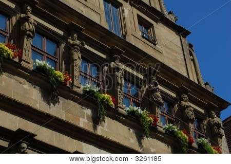 Statues On Building In Rothenberg, Germany