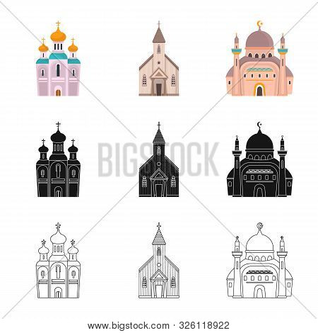 Isolated Object Of Cult And Temple Symbol. Collection Of Cult And Parish Stock Vector Illustration.