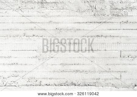 Concrete slab with formwork imprint. White horizontal pattern poster