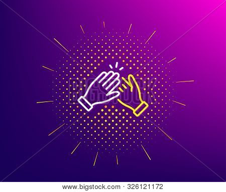 Clapping Hands Line Icon. Halftone Pattern. Clap Sign. Victory Gesture Symbol. Gradient Background.