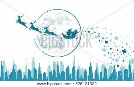 Santa Claus In Sleigh And Reindeer Sled On Background Of Full Moon. Santa Claus Flying Over The City
