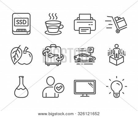 Set Of Business Icons, Such As Ssd, Push Cart, Apple, Monitor, Luggage, Chemistry Lab, Printer, Augm
