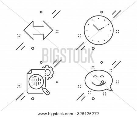 Seo Stats, Sync And Time Line Icons Set. Yummy Smile Sign. Cogwheel, Synchronize, Clock. Emoticon. T