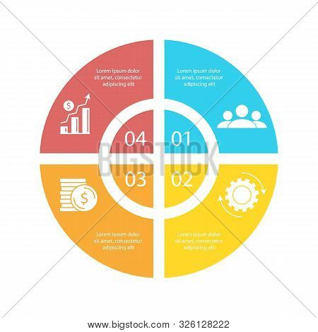 Circle Infographic Template With 4 Options For Presentations Or Charts. Business Concept Round Diagr