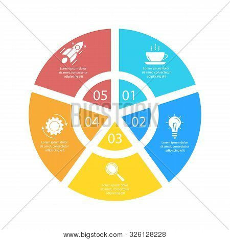Circle Infographic Template With 5 Options For Presentations Or Charts. Business Concept Round Diagr