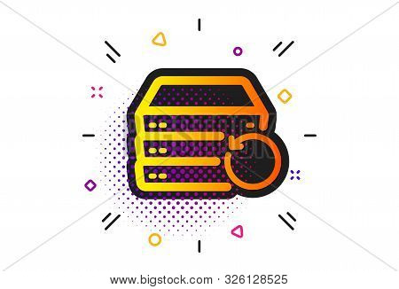 Backup Data Sign. Halftone Circles Pattern. Recovery Server Icon. Restore Information Symbol. Classi