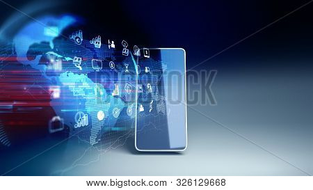 Fintech Icon And Technology Element On Mobile Phone 3d Rendering  Represent Blockchain And   Fintech