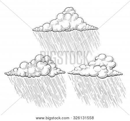 Rain Clouds Sketch. Raincloud Illustrations, Vintage Black Etching Downpour Drawings, Rainy Storm Do
