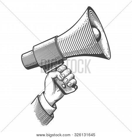 Megaphone Engraving. Propaganda Retro Concept, Vintage Announcements Sketch, Screaming Bullhorn Adve